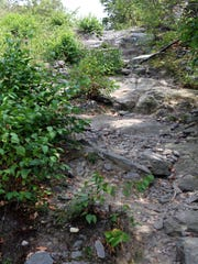 A view of a steep section of the trail to Terrace Pond