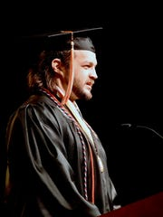 Randy Carpenter, a US Air Force veteran, delivers the student address at the University of Tennessee College of Arts and Sciences Commencement Ceremony at Thompson-Boling Arena on Saturday, May 12, 2018.