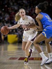 Arizona State's Courtney Ekmark drives downcourt against