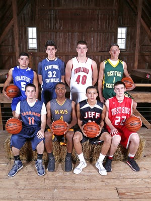 Area boys basketball stars for the J&C Hoops Classic. Front row left to right: Cade Renicker, Tre'Shon Heard, Darrian Collins, Jared Snoble. Back row left to right: Luis Medina, Michael Vukas, Dane Holmes and Jack Marquie.