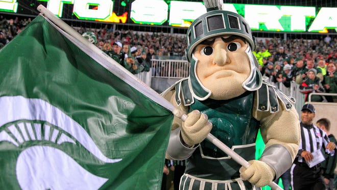 Michigan State Spartans mascot Sparty prepares to take the field prior to a game at Spartan Stadium.