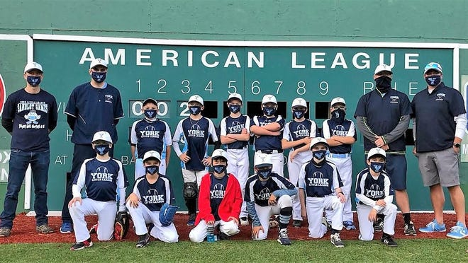 A group of York kids traveled to Waterville last weekend and played in a tournament at Little Fenway. The team won three of the four games it played. Pictured front row (from left): Paul Eldredge, Cody Jean, Soma Mimura-Elkevizth, Ben Fitzgerald, Ian Scarponi and Nate Rosen. Back row (from left): coaches Mark Rosen and Evan Scarponi, and Colin Topping, Ronin Avery, Mason Deeney, Lachlan McMorris, Henry Mirick, Declan Mooreand coaches Shawn Moore and Bob Fitzgerald.