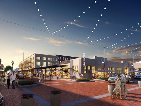 A rendering shows how the a food hall might look at