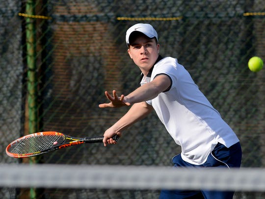 Sebastian May, above, and his Dallastown teammate, Jonathan Burns, have advanced to the York-Adams League Class 3-A boys' doubles tennis semifinals. YORK DISPATCH FILE PHOTO