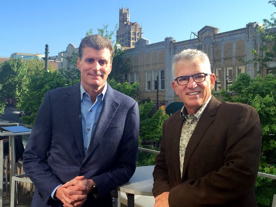 Dave Marr, senior vice president of brand management for Starwood Hotels & Resorts and John McKibbon, chairman of McKibbon Hotel Group, in Asheville on Tuesday, April 28, 2015.