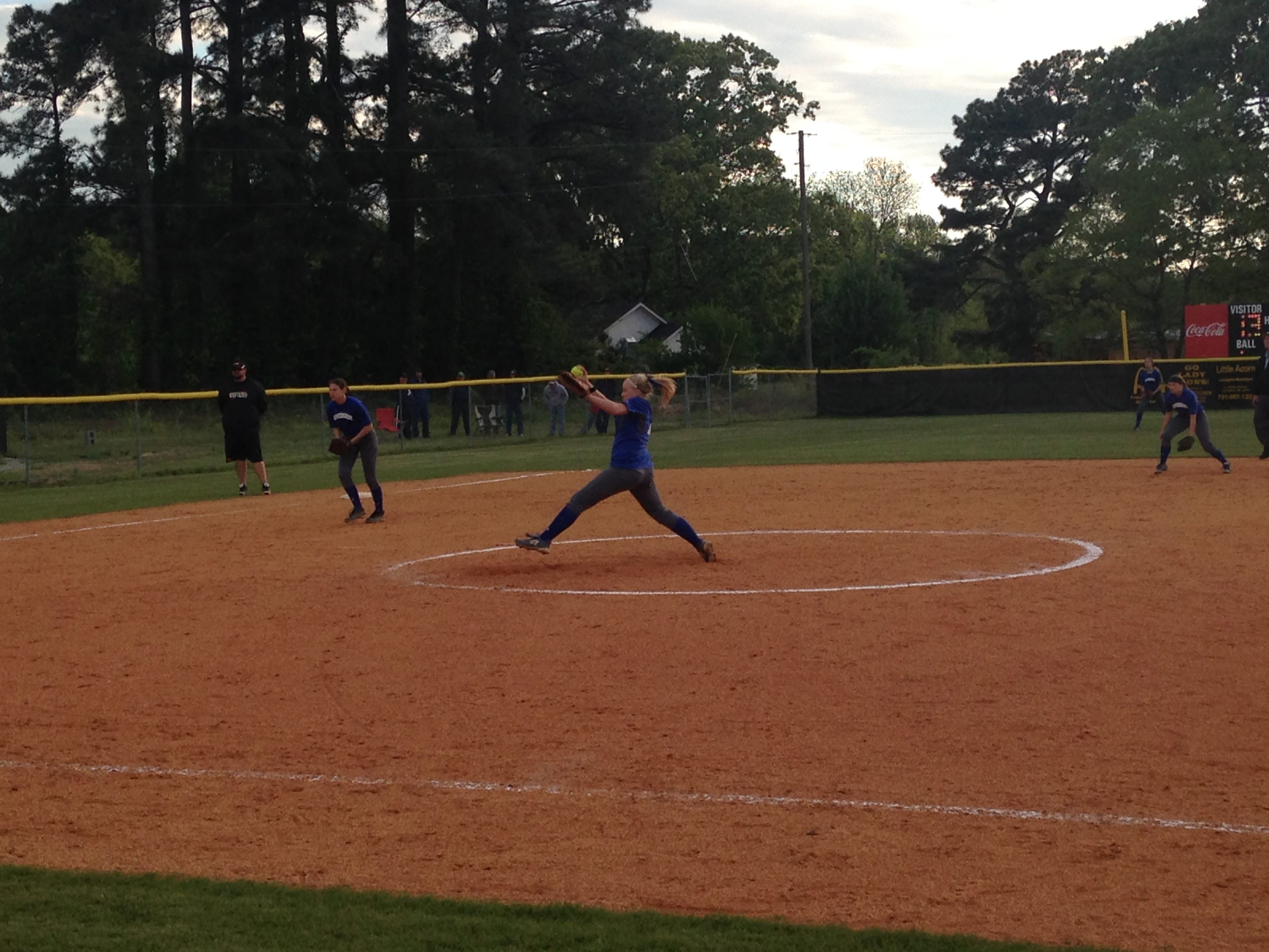 Riverside pitcher Holly Pratt delivers a pitch against Scotts Hill on Tuesday.