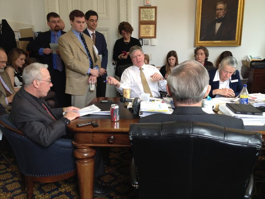 """Sen. John Campbell, D-Windsor District, seated second from left, talks about the Senate's budget options during a Senate Appropriations Committee meeting Thursday morning. Lawmakers face difficult decisions no matter where they turn in a budget that is """"not just to the bone, but to the marrow,"""" Campbell said."""