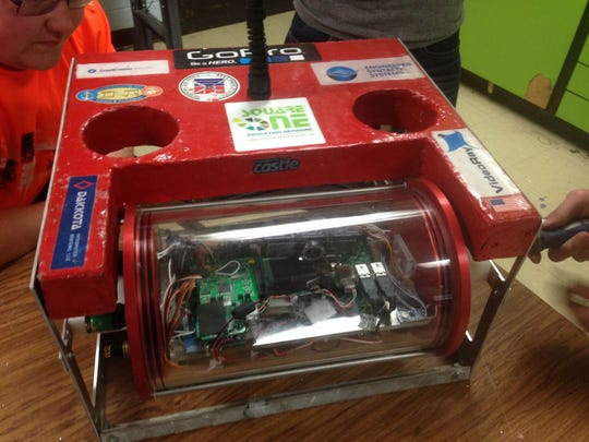 Stockbridge High School's remotely operated vehicle. Its camera is shown in front.