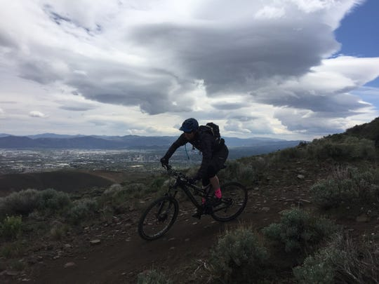 Kevin Joell of Reno riding on new single track on Peavine Mountain. One of the visual highlights of the route is views of downtown Reno from the trail.
