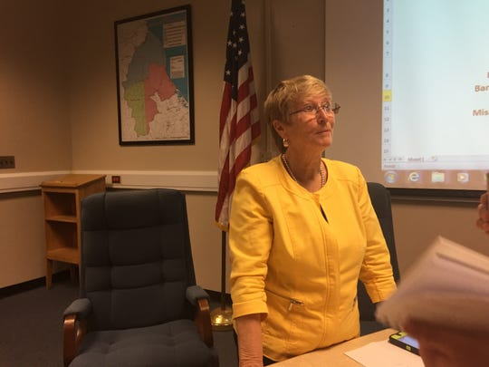 Phyllis Kohel, superintendent of the Milford School District, speaks to reporters after a school-construction referendum the district proposed was defeated on Tuesday, May 5, 2015.