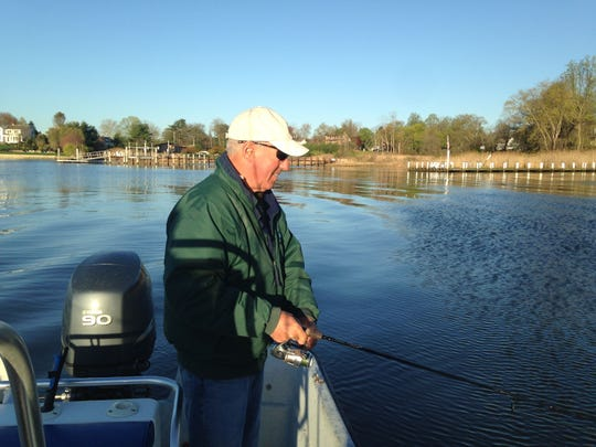 Tim Shaheen, Locust, fishes for bass on the Navesink River