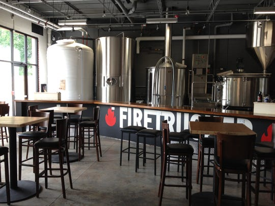 The tap room at the new Firetrucker Brewery in Ankeny.