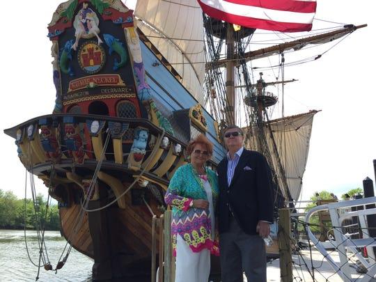 KALMAR NYCKEL: Tatiana and Gerret Copeland join Sunday's celebration of the maritime center at the Kalmar Nyckel Shipyard. More than 350 people celebrated Sunday's grand opening of the new Copeland Maritime Center at the Kalmar Nyckel shipyard.