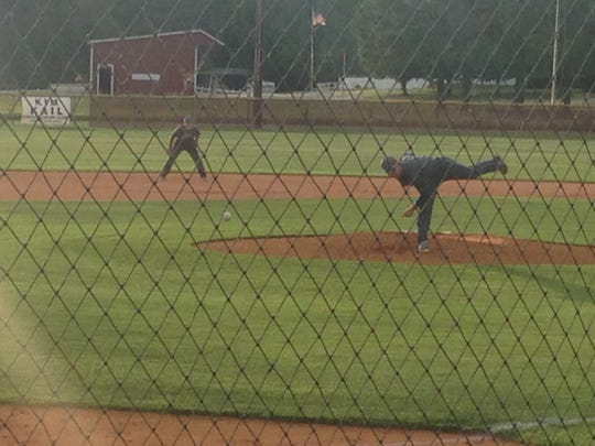McNairy Central's Chase Smith pitches to a Crockett