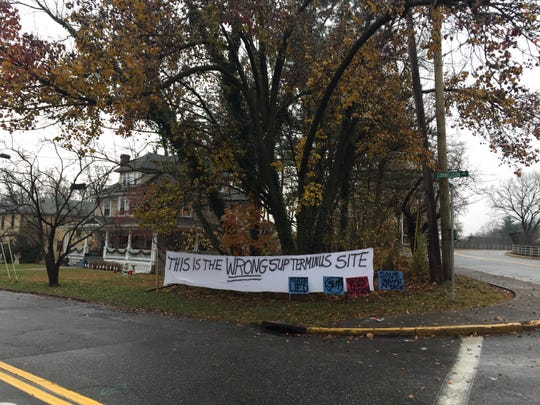 A sign at the intersection of South Broadway and Cornelison Avenue opposing the site as the entrance for a walking and biking path for the new Tappan Zee Bridge has been hanging since November.