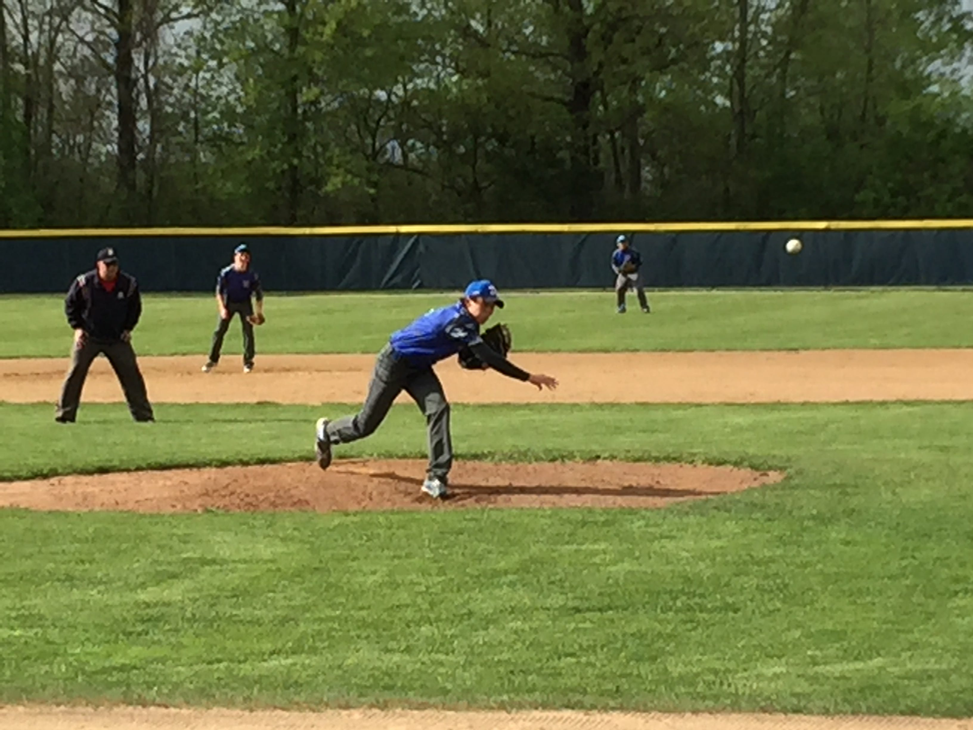 Danbury's Justin Tibbels throws a pitch Wednesday against St. Mary Central Catholic.