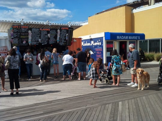 The crowds gather at Eddie Confetti's Ice Cream on the Asbury Park Boardwalk.
