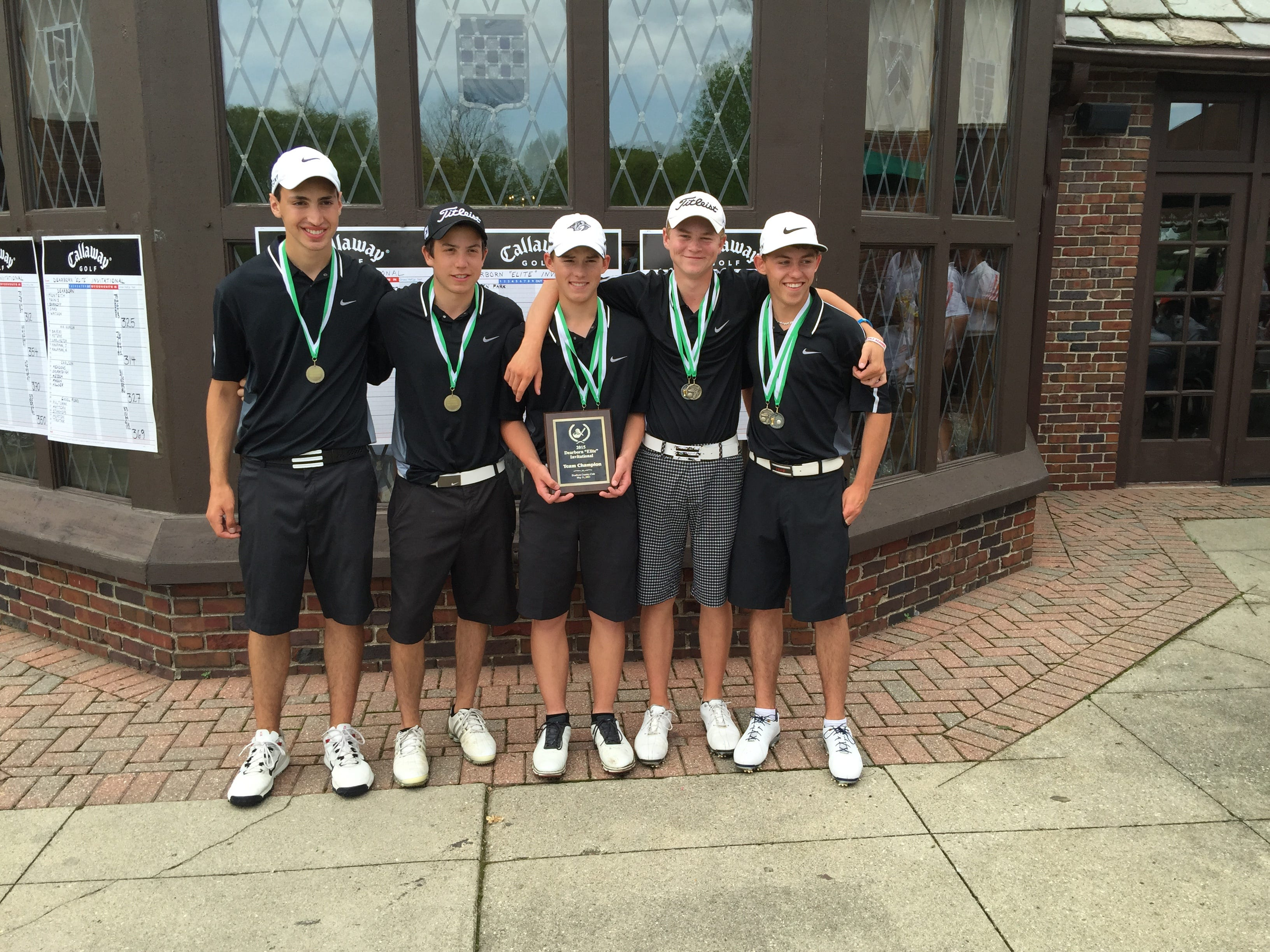 The Plymouth varsity boys golf team captured Monday's Dearborn Elite Golf Tournament. From left are senior co-captains Andrew Lloyd and Conner Zydeck; sophomores Justin Kapke and Jack Boczar; junior Kyle Kozler.