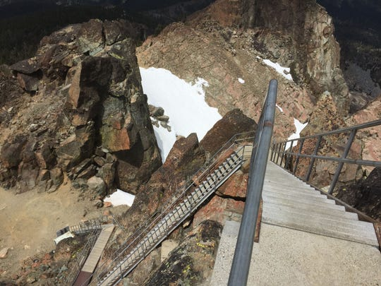 There are, by our count, 176 steps in this staircase to the fire lookout at the top of the Sierra Buttes.