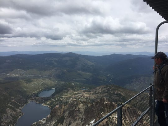 The lookout tower at the top of the Sierra Buttes provides amazing views in all directions, including Upper and Lower Sardine lakes, seen in this photo.