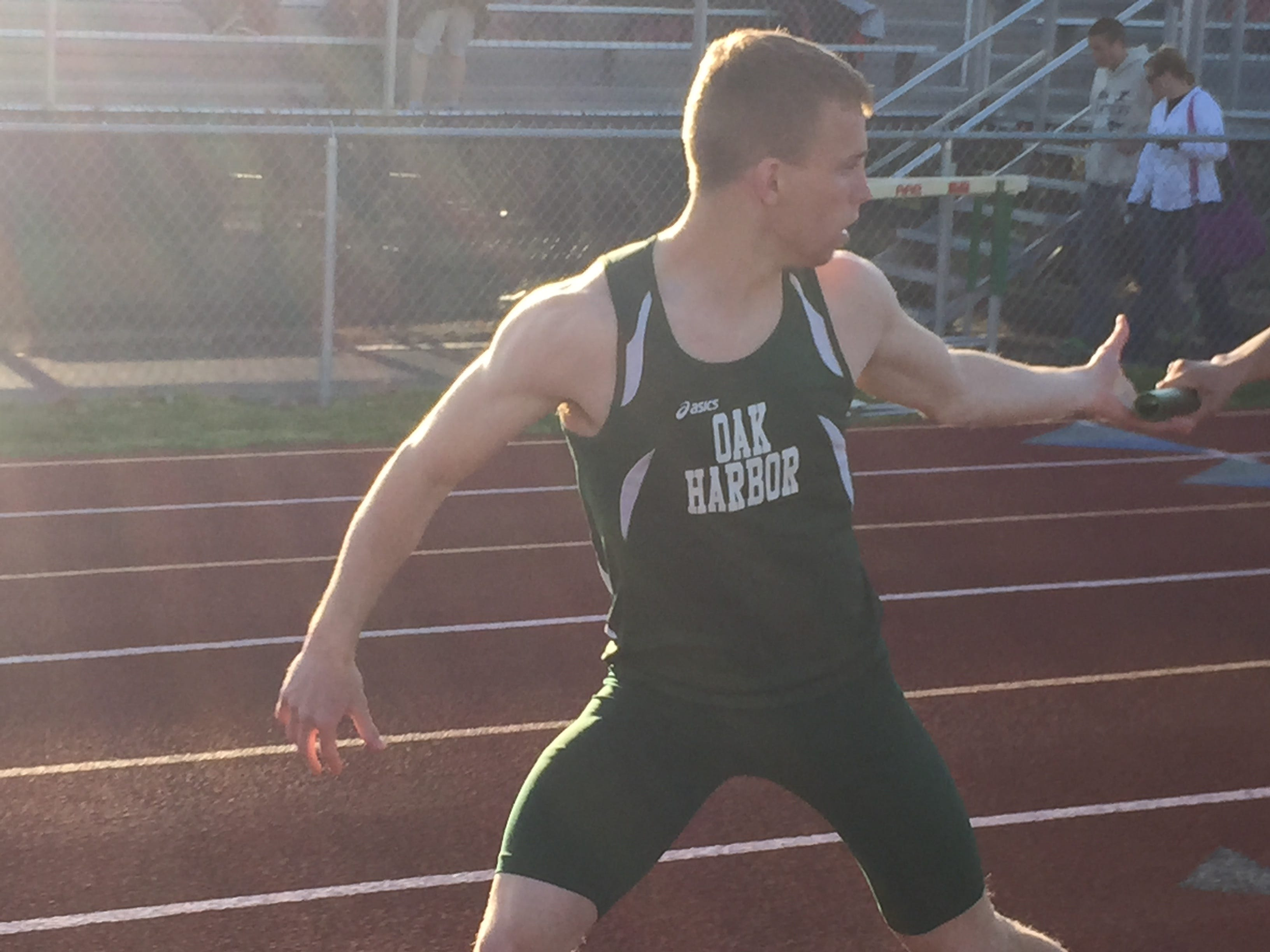 Oak Harbor's Cole Weirich won the 100 at the Sandusky Bay Conference track meet.