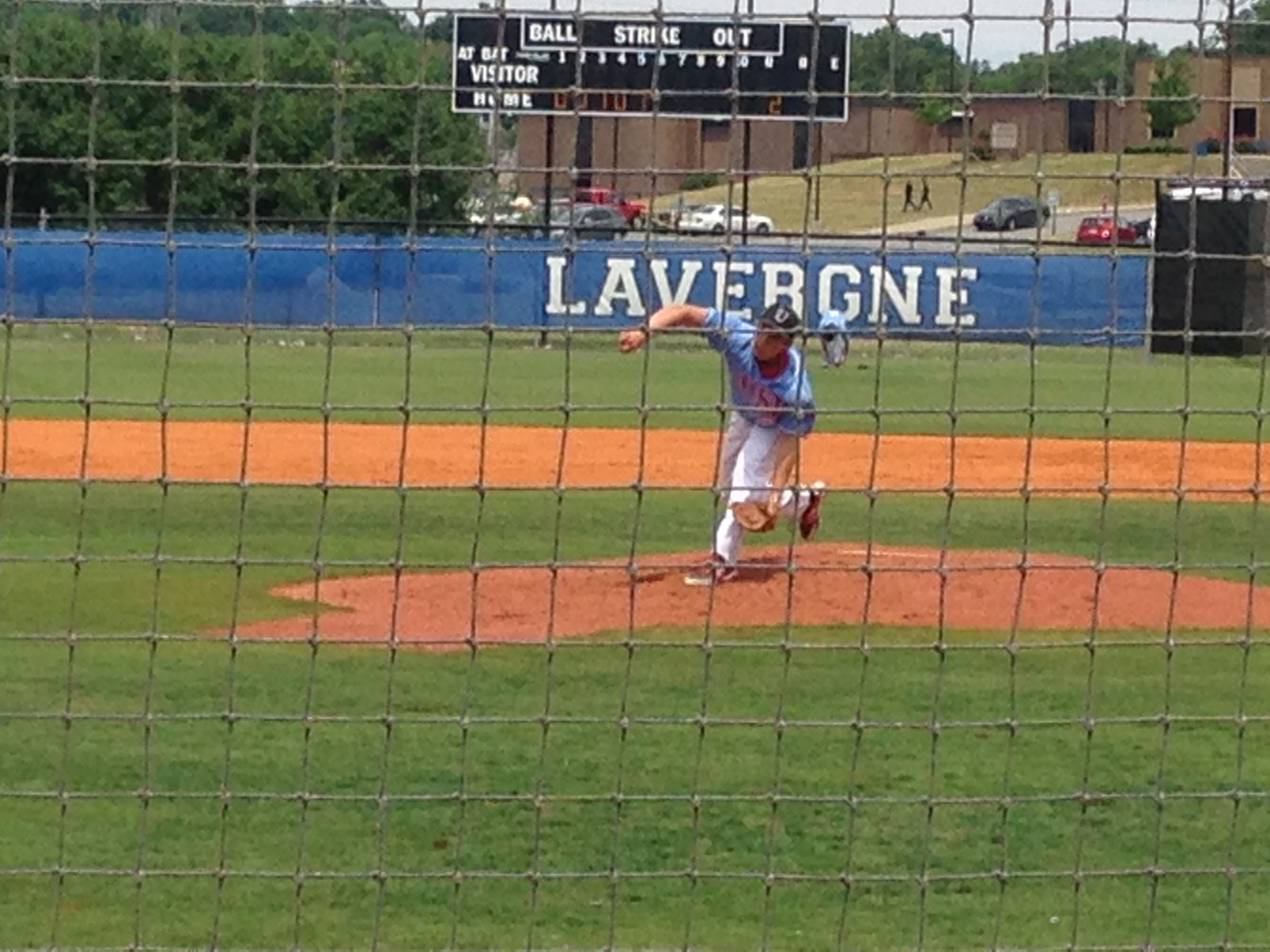 Eli Brauss pitches during USJ's state tournament game Wednesday against Evangelical Christian School.