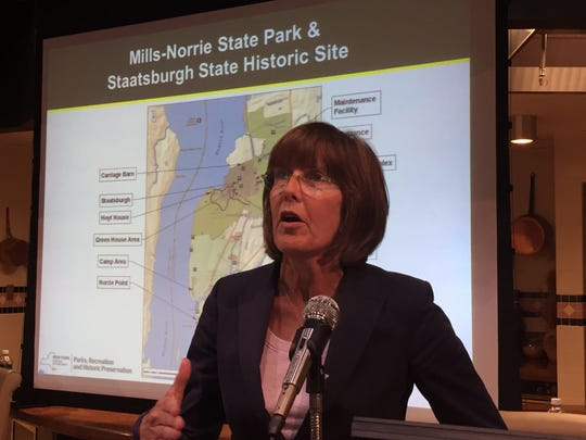 Rose Harvey, commissioner of the state Office of Parks, Recreation and Historic Preservation, discusses Staatsburgh State Historic Site and Mills-Norrie State Park at the Culinary Institute of America in Hyde Park Wednesday.
