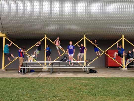 Members of Peabody Montessori Elementary's Robotics and Young Astronauts Club monkey around at Pathfinder Space Camp at U.S. Space and Rocket Center in Hunstville, Alabama. The group completed missions, built and launched rockets and learned about space at the three-day camp May 15-17.