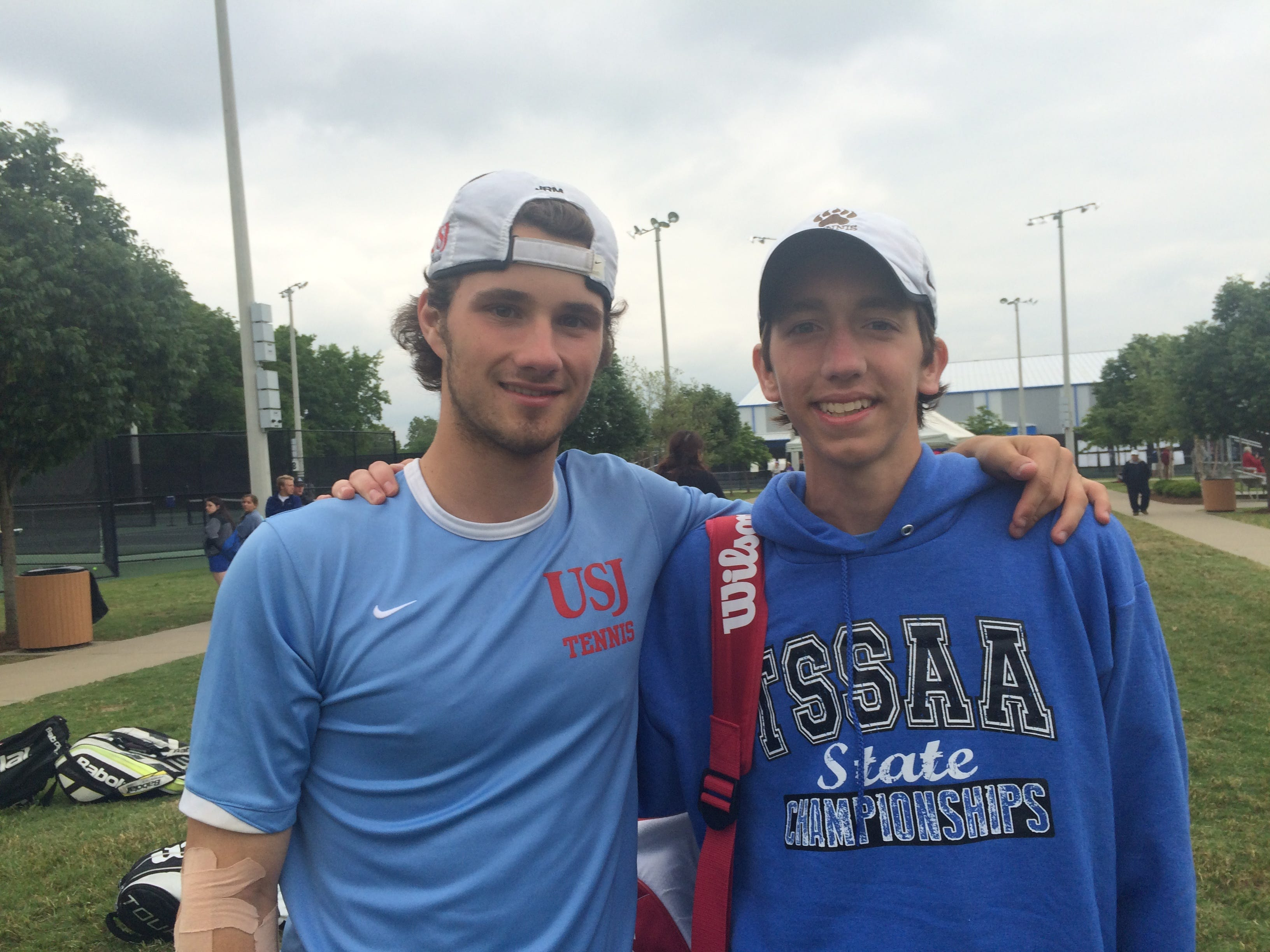 USJ's George Markos (left) and Cade Reason (right) reached the Division II-A state championship doubles match.