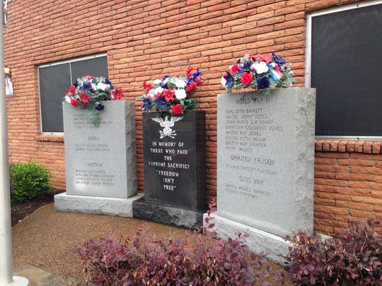 Wreaths were placed on the memorial markers outside the Medina Civic Center for Memorial Day on Monday during a Memorial Day service.