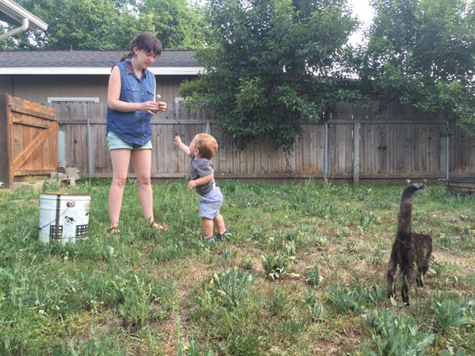 plucking weeds