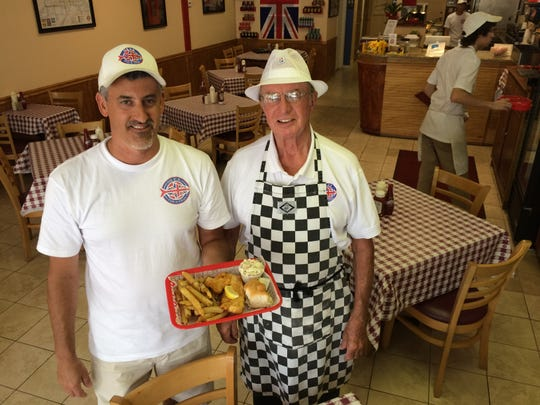 John Natanni, left, owns OK UK Fish-n-Chips locations in North Fort Myers and south Fort Myers. Natanni's father in-law, John Norton, right, is a British expat who spent his life working in the restaurant business.