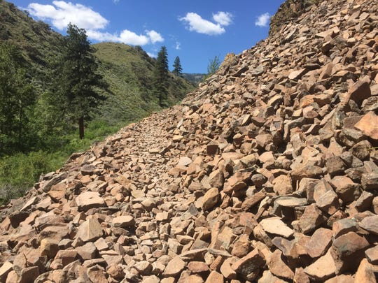 This is one of the rock slides hikers need to cross to get to the top of the Hunter Creek Trail.