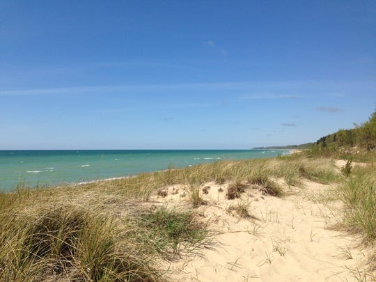 A view looking north along Lake Michigan at Warren Dunes State Park.