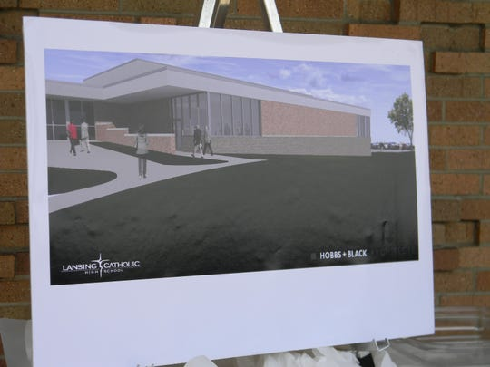 An illustration of the Cougar Athletic Performance Center, which Lansing Catholic had a ground breaking for Tuesday.
