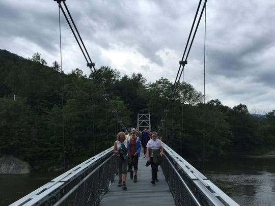 Nearly 100 people came to the opening celebration of the new Long Trail footbridge. The bridge, located off of U.S. in Bolton, is part of the Winooski Valley Long Trail relocation.