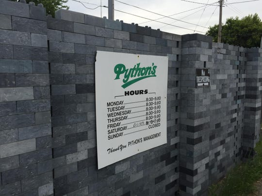 The plastic brick wall at Python's Recycling in St. Cloud.