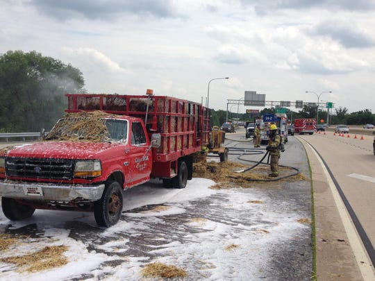 Hay fire on Del. 141