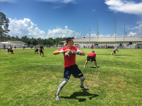 Wakulla rising senior quarterback Feleipe Franks throws a pass during the War Eagles' 7-on-7 tournament on Saturday. The War Eagles were one of nine area teams competing in what has become a ritual of summer preparation.
