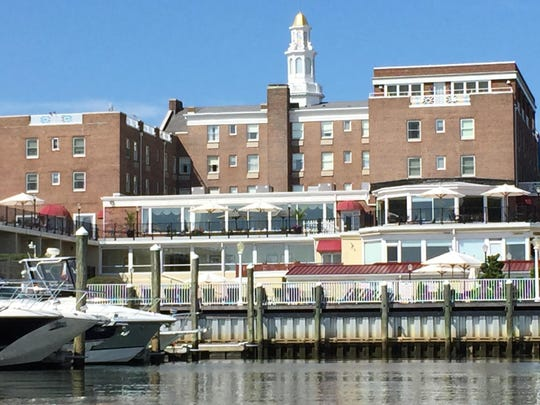 The Molly Pitcher Inn, viewed from the dock entrance. Boaters must check in with the dockmaster.