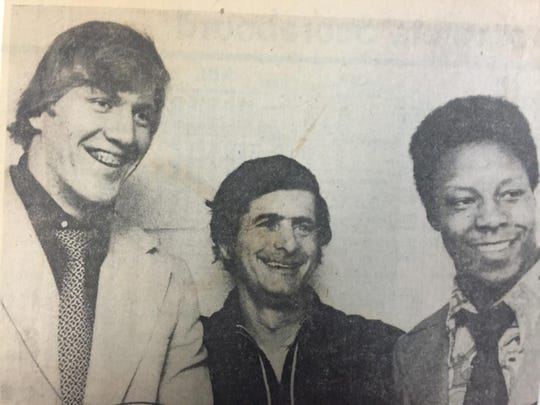 """The former Times-Union newspaper showed Tony Merola (middle), with """"prized prospects'' Jeff Weston, left, and Tony Shaw in this 1974 photo."""