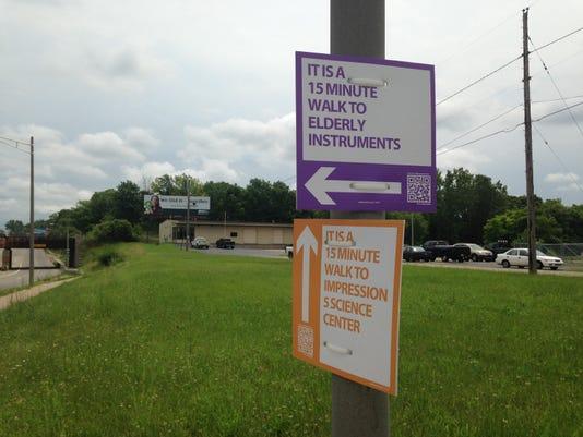 Destination walking signs