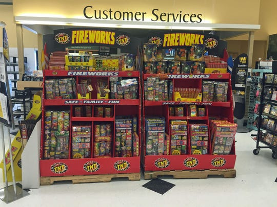 Fireworks on display Tuesday in the A&P supermarket on Route 22 in Brewster.