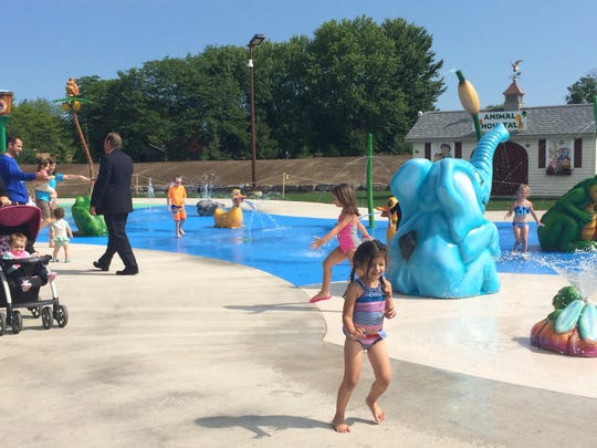 Kids try out Greece's new splash park, which opened in 2015.