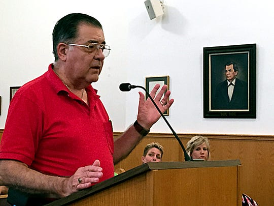 Frank Fusco speaks against the jail nurse proposal, which he said could put the nurse and county at risk.