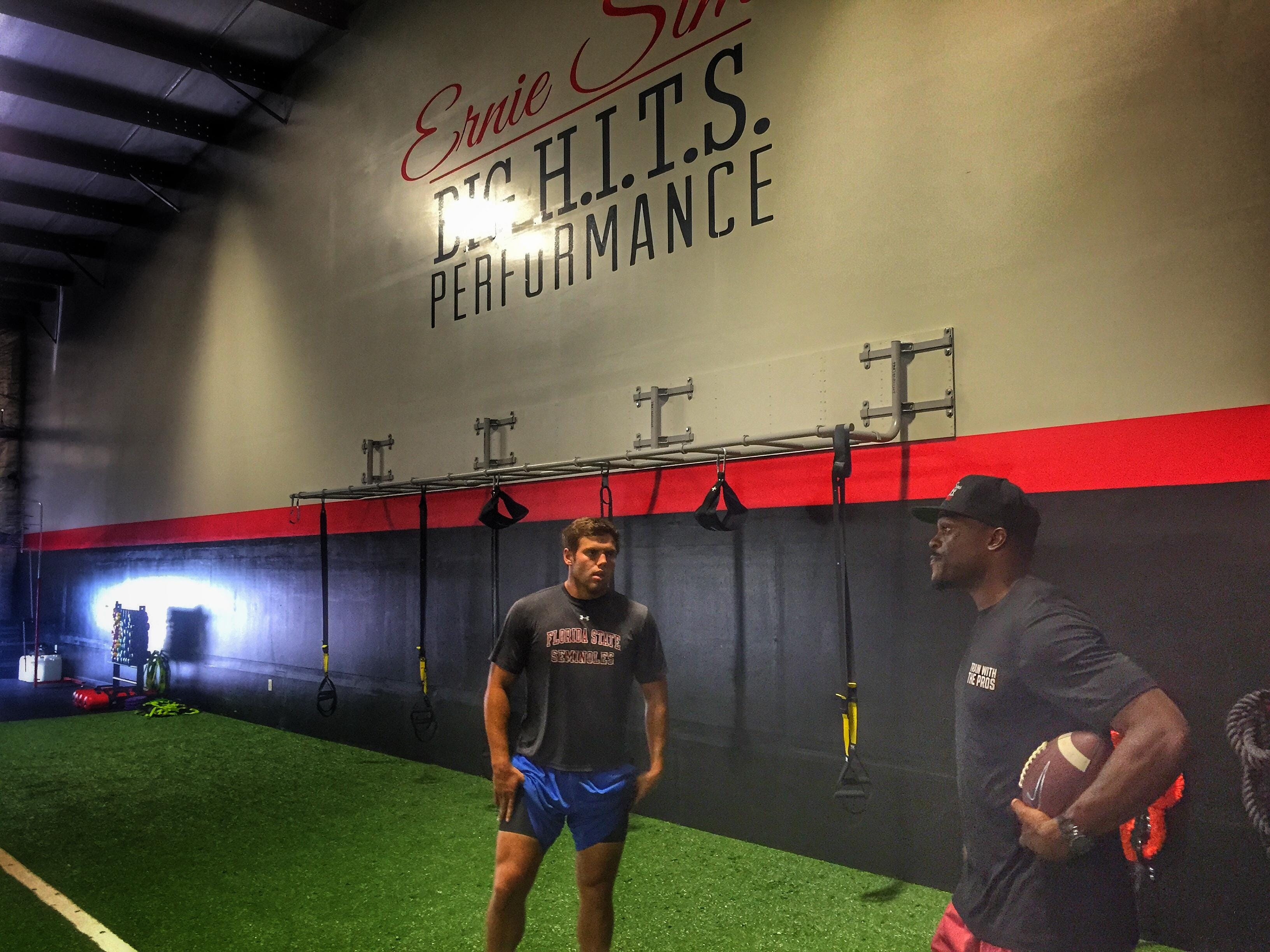 Former NFC and FSU star Ernie Sims works with former Maclay linebacker Matt Deal at Big H.I.T.S. Performance. Sims started the company following his nine-year NFL career. Sims' 8th annual charity weekend starts on Friday.