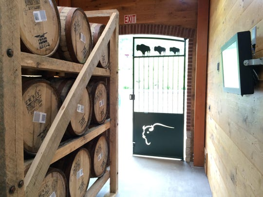 Inside the breezeway of Warehouse X, Buffalo Trace Distillery's experimental aging facility.