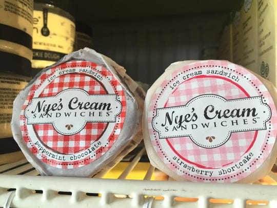 Nye's features premium ice cream sandwiched between