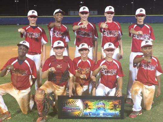 The Pensacola Storm won the recent USSSA 12-under division at the Global World Series. Top row, left to right, Jordan Jarman, Jordan McCants, Tyler Michanowicz, Hunter Pierson, Brady Garcia. Bottom row, left to right: Damarius McGhee, Josh Turner, Aaron Noack, Tanner Rouchon, Ian Ladieu.