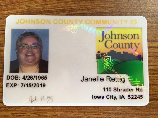 Johnson County Supervisor Janelle Rettig's community ID shows the final design of the cards, which feature the Johnson County logo and are embossed with a unique seal to prevent duplication.